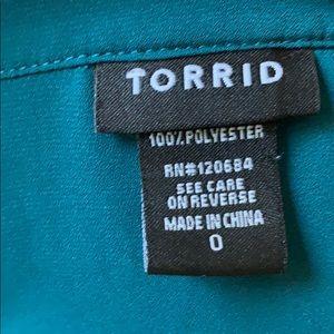 torrid Tops - Torrid Teal Double-pocket Blouse Size 0X